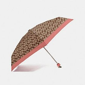Coach Signature Mini Umbrella In Khaki/ Watermelon
